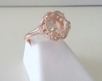 Vintage style 1.70ct Morganite & Diamond ring in 14K Rose Gold