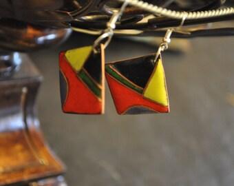 Geometric cloisonne earrings