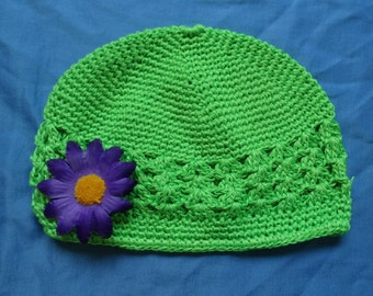 Girls Hat with Removable Flower Hairclip