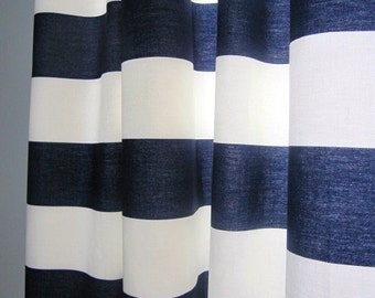 Navy Blue and White Cabana Stripe Window Treatments/ Curtains