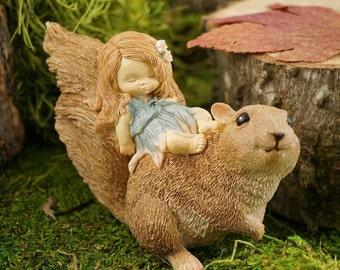 Miniature Dollhouse FAIRY GARDEN ~ Sleeping Fairy Baby and Squirrel Friend  ~ NEW