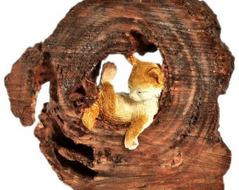 Miniature Dollhouse FAIRY GARDEN ~ Sleeping Little kitten in a Log ~ NEW