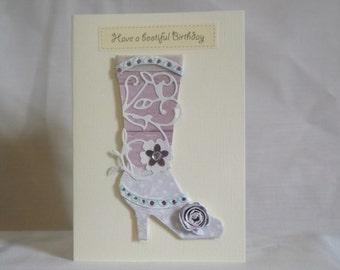 Olivia: Birthday card with lilac boot and paper rose