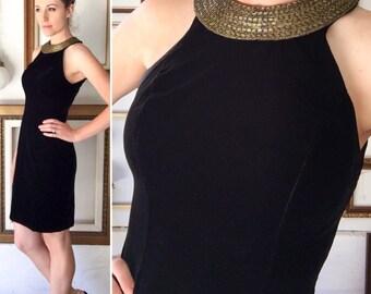 Vintage 70s Little Black Velvet Dress with Gold Beaded Collar - Free Ship