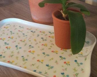 Vintage 80's ceramic floral tray