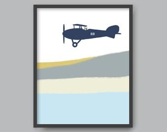 Biplane, PRINTABLE plane art Kid nursery Modern home decor Pilot Airplane printable (#P327)