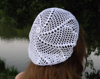 Summer Slouchy hat Summer beanie Cotton crochet hat white beach hat knitted women's hat White Cotton Snood for mom summer accessories