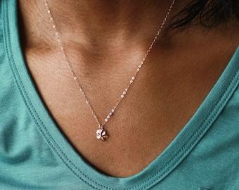 Hawaii Necklace, Plumeria Hawaiian Necklace, Plumeria Necklace, Plumeria Jewelry, Rose Gold Plumeria, Tiny Plumeria, Tropical Flower