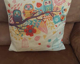 Owl and floral  print cushion