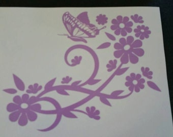 Flowers with Butterfly Decal