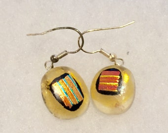 Handmade fused glass yellow dangle stainless steel earrings
