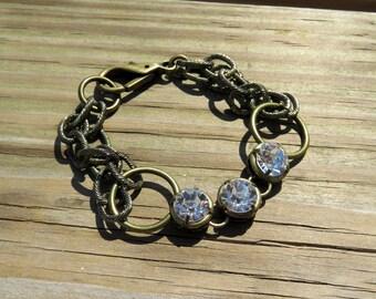 Bronze Double Chain Chunky Bracelet // Bronze and Rhinestone Bracelet // Multi Chain Bracelet