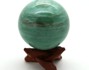 Natural Polished Green Amazonite Crystal Ball with Matching Stand – 315g