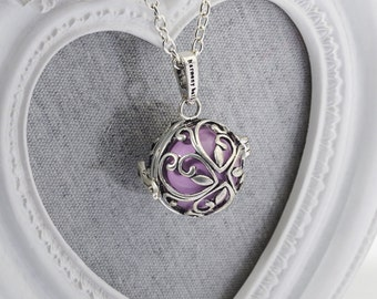 Harmony Cage EVIE with Lavender Bola Ball Pendant & Necklace - Pregnancy Maternity Baby Shower Gift