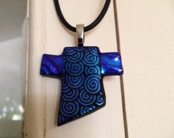 Fused glass cross pendant