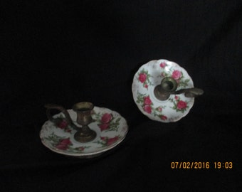 Vintage china and brass candle sticks