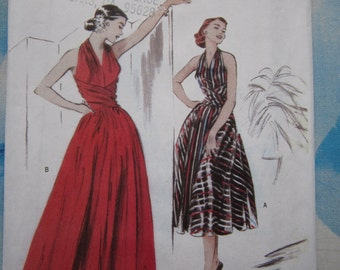 Butterick 4919 1952 Reproduction Halterneck Dress Sewing Pattern 14-20