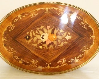 Vintage Itailian Serving Tray with Wood Inlay and Brass Handles