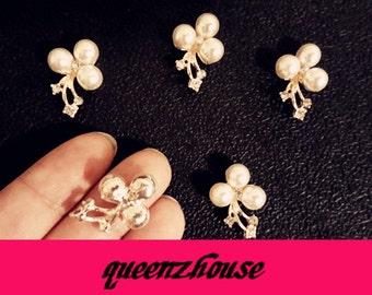 5 pcs rhinestone hair clip buttons broochi art deco craft