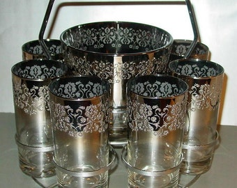 Vitreon Queen's Lusterware Silver Ombre Floral Ebossed Ice Bucket 8 Glasses Mid Century Modern