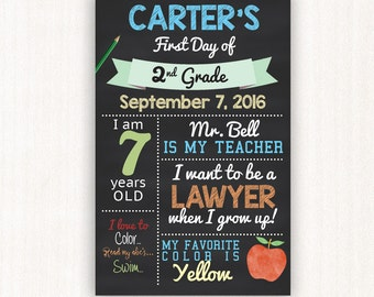 Boy's First Day of School Sign, Custom First Day of School Printable, 8.5 x11, 11x14 or 11x17 First Day of School Photo Prop. Any Grade