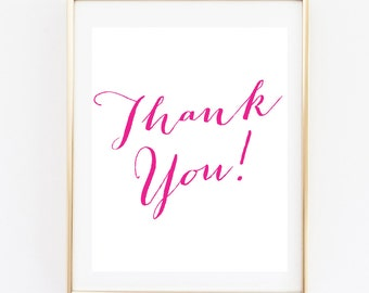 Pink Thank You Sign | Bridal Shower Printable | 8x10 Bridal Shower Sign | Wedding Decor | Instant PrintableThank you Sign | Bridal Decor