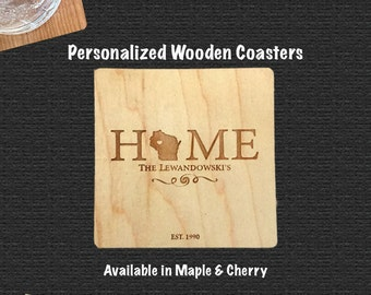 Personalized Wooden Coasters | Set of 4 | Includes Bump Ons |