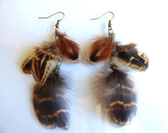 Earrings feathers pheasant - jewelry natural feather and chain - layering - elegant - hunting - pheasant - autumn colors