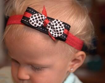 headband black, white and red polka dot