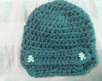 Handmade Crochet Baby Boys Green Newsboy Hat    0-3 Months Old