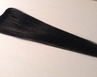 """18"""" Jet Black Human Hair Extension Fringe/Bang/Bangs"""