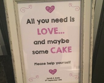 A4 Cake Wedding Sign