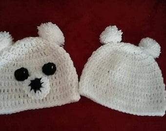 crochet pom pom ear bear hat