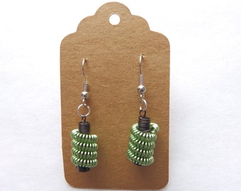Handmade Olive Wire Coil Earrings