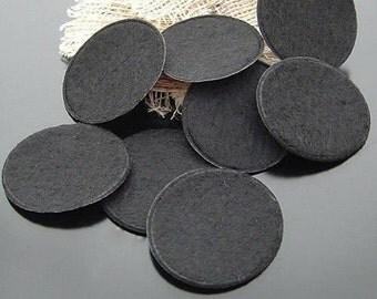 200pcs x 3cm Black Round Circles Felt Pads Patches
