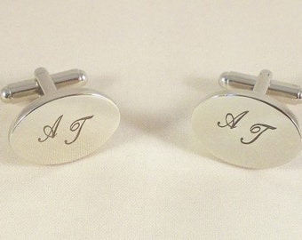 Men's cufflinks Silver Oval personalized with initials cufflinks custom engraved oval cufflinks custom monogram