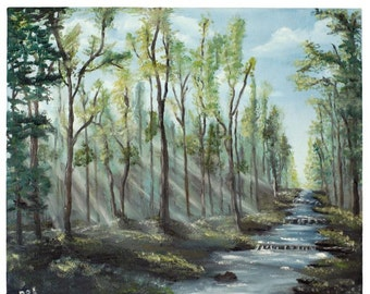 Sunlight through the woods, Large Oil painting