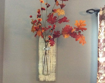 Wine Bottle Wall Vase// Wall Decor// Rustic Modern // Flower Vase