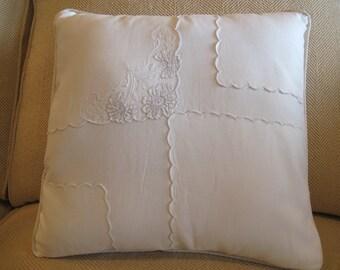 White Cotton with Vintage Napkin Applique'