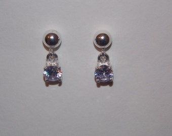5mm lavender CZ set in .925 sterling silver dangle earrings