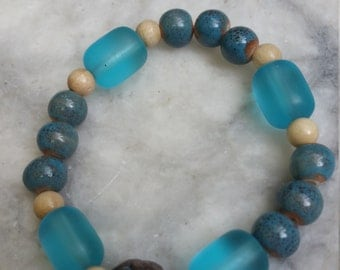 blue bracelet, teal, beaded bracelet, womens