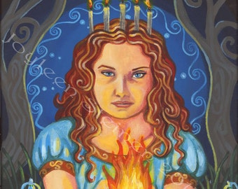"Brigid Goddess of Fire - Giclee, Print, Original Art, 13.5 x 9.5"""