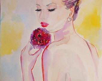 Original fashion watercolor,woman with flower,watercolor portrait,colorful portrait,fashion painting,watercolor figurative,soft colors