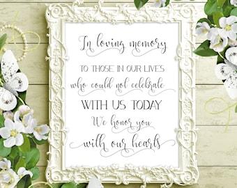 SALE 70% In Loving Memory Sign Printable. Wedding Memorial Sign. Wedding Sign Printable. Wedding Remembrance Sign. In Memory of digital sign