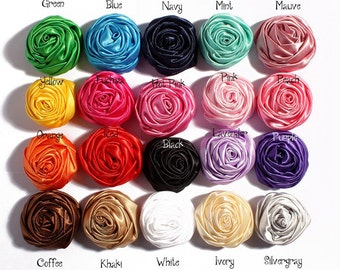 Satin Rolled Rosettes-Satin Flowers-Ruffled Rosettes-Satin Rolled Rosettes, Satin Flowers, Headband Flowers ,20pcs mixed color,HEA-09