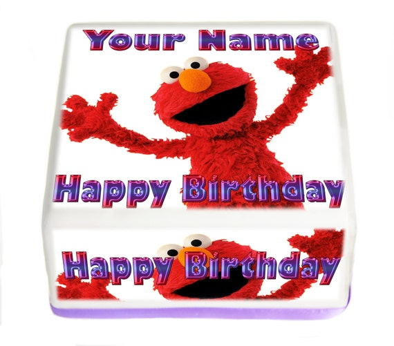 Elmo Edible Square Cake Topper 1/4 Sheet Personalized or Non