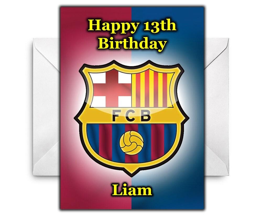 BARCELONA FOOTBALL CLUB Personalised Birthday Card / Greetings