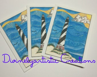 Cape Hatteras Lighthouse Note Cards Mixed Media Version 2