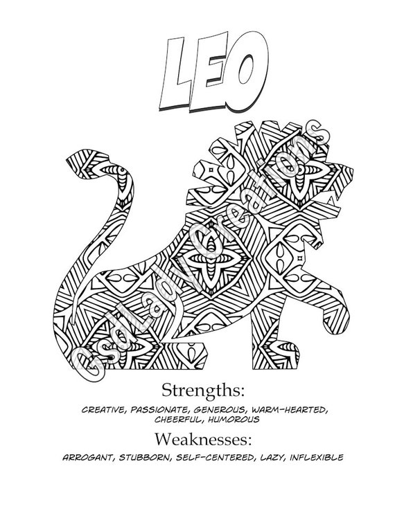 Zodiac art print leo astrology print coloring page novelty for Leo coloring pages