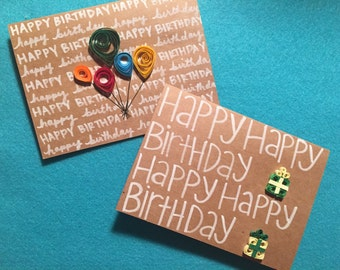 Quilled Birthday Cards -- Individual